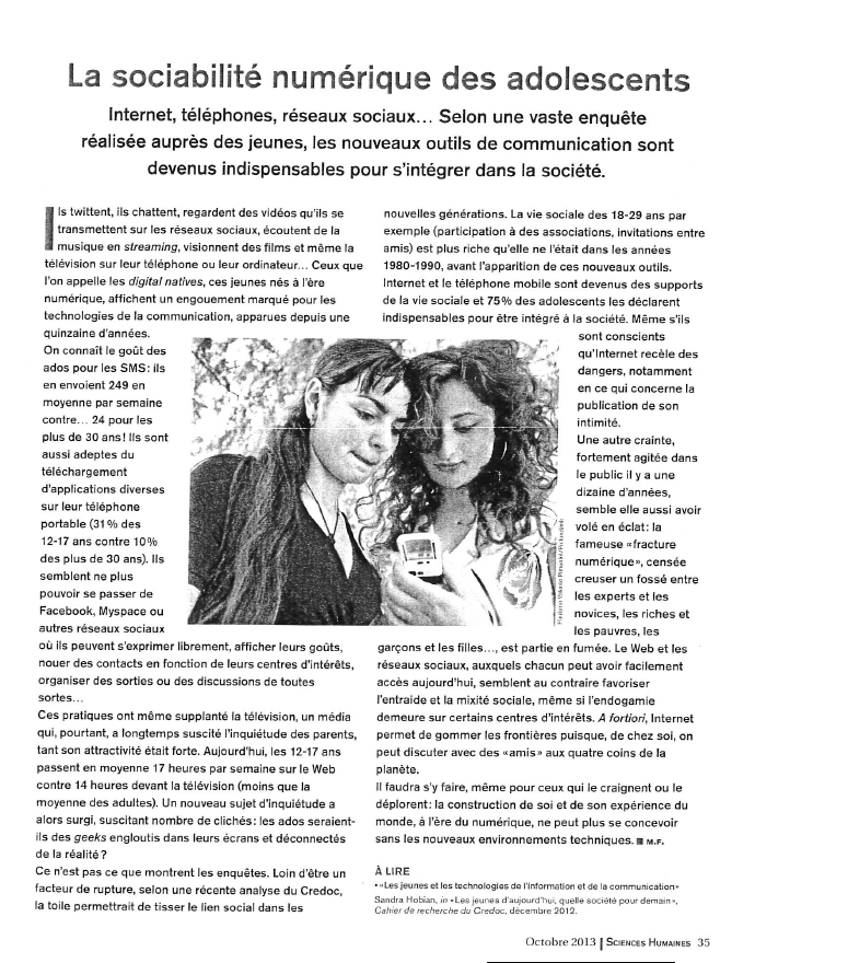 La sociabilité numérique des adolescents